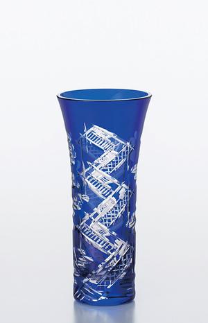 【送料無料】【東洋佐々木ガラス】八千代切子 花瓶 (八つ橋) 花器 LV68360SULM-C660 木箱入り