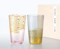 東洋佐々木ガラス 江戸硝子 金玻璃(きんはり) 冷酒杯揃え <天空・桜色+大地・墨色> G641-T82 木箱入り