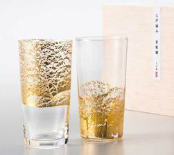 東洋佐々木ガラス江戸硝子 金玻璃(きんはり) 冷酒杯吟醸揃え <天空+大地> G641-T79 木箱入り