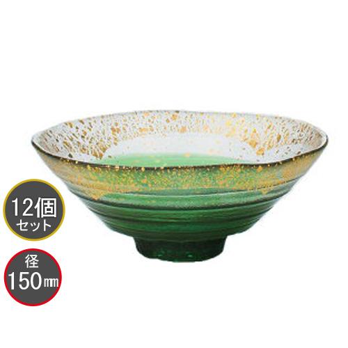 東洋佐々木ガラス 12個セット 金箔鉢(緑溜) 和風鉢 ガラス鉢 43230G-WHDG ハンドメイド 径150mm プロユース 業務用 家庭用