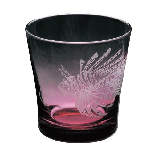 ラッピング無料 大塚硝子 サンドブラスト Aquarium(アクアリウム) 11S109 オールド・ライオンフィッシュ タンブラー 化粧箱入り 日本製