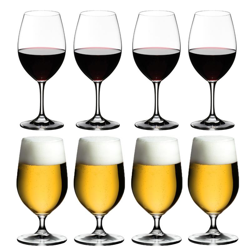 送料無料・包装無料 RIEDEL リーデル オヴァチュア(オバチュア) レッドワイン(6408/00)、ビアグラス(6408/11)各4本 合計 <8本セット> ビール ビアー overture