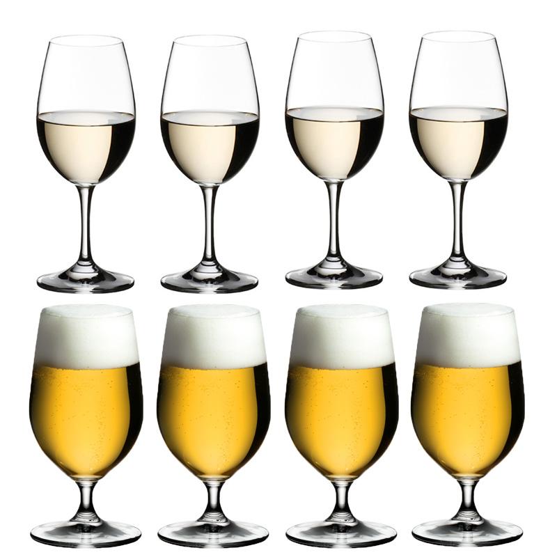 マラソン用クーポン配布中!8本購入でポイント10倍 代理店商品・包装無料・送料無料 RIEDEL リーデル オヴァチュア(オバチュア) ホワイトワイン(6408/05)、ビアグラス(6408/11)各4本 合計 <8本セット> ビール ビアー overture
