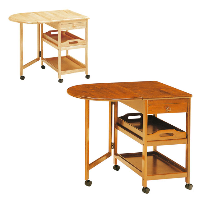 【送料無料】弘益 木製テーブル付ワゴンキャスター付 KW-415