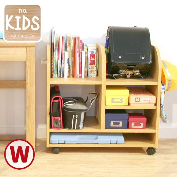 na-KIDS ランドセルラック(ワイド) KDR-2436NA ランドセル置き 本棚 おもちゃ 机 シェルフ キャスター デスク 学習机 入園 入学祝い 天然木 シンプル