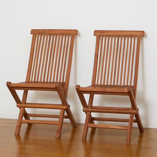 折りたたみ椅子 木製 フォールディング チェア チーク材 天然木 2脚セット アウトドア 送料無料 クロシオ チークチェア 2脚組 折りたたみ式 55101 在宅勤務 テレワーク応援