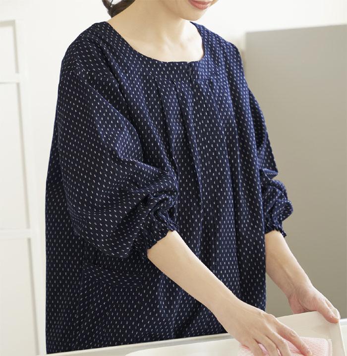 マーケティング 綿100%の久留米織りかっぽう着チュニック楽に着られて機能的なので 購買 家事の時にも大活躍 セルヴァン 日本製 久留米織かっぽうチュニック