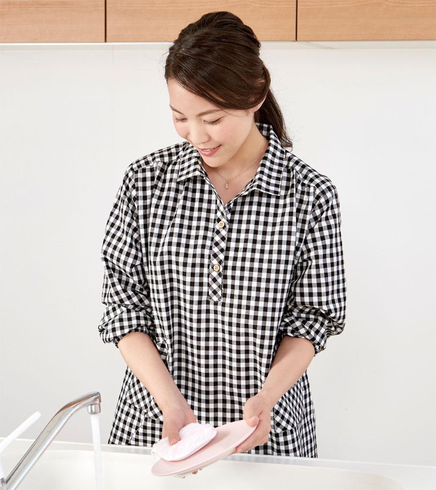 サッとかぶるだけ おしゃれなシャツかっぽう着 先染めかっぽうプルオーバーシャツ 有名な 国際ブランド セルヴァン