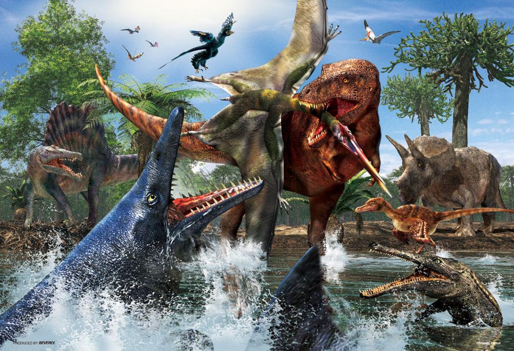 ジグソーパズル 40ラージピース ティラノサウルス VS ビバリー 日本 物品 38×26cm 40-006 モササウルス