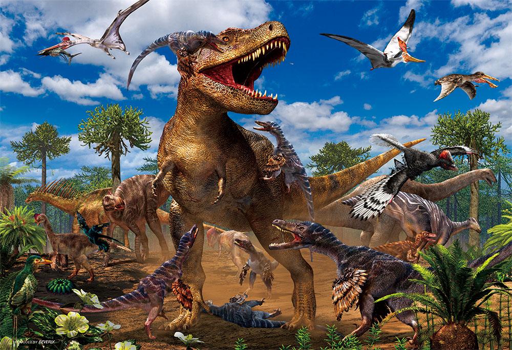 高級品 ジグソーパズル 80ラージピース ティラノサウルス 25%OFF VS ヴェロキラプトル 38×26cm 80-002 ビバリー