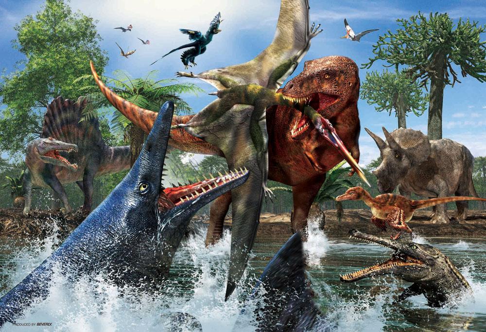 ジグソーパズル 150ラージピース お見舞い ティラノサウルス VS L74-168 ビバリー 38×26cm 業界No.1 モササウルス