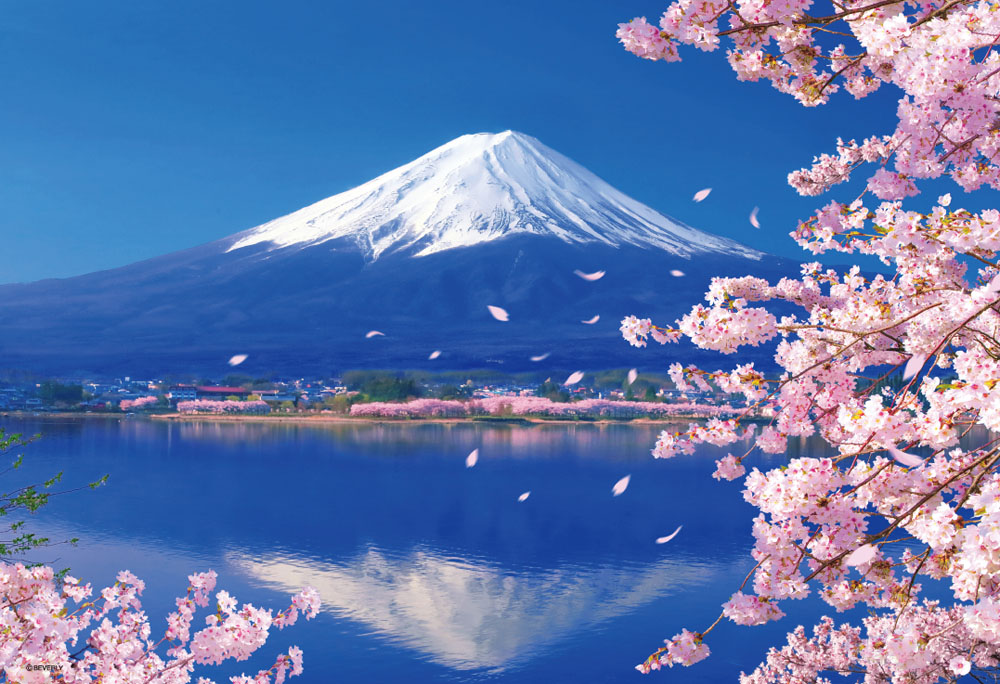 ジグソーパズル 300Pジグソーパズル 富士と桜咲く湖畔 永遠の定番 33-139 38×26cm 新色追加 ビバリー