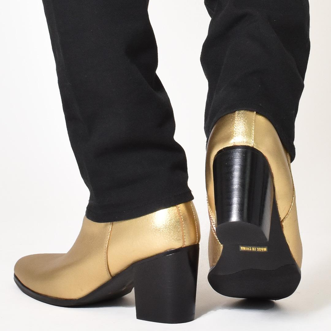 ハイヒール ブーツ メンズ ショートブーツ ヒールブーツ 革靴 endevice エンデヴァイス エンデバイス シルバー 銀色 ゴールド 金色 サイドジップ カジュアルシューズ ポインテッドトゥ 男性の メンズシューズ 大人 ホスト おしゃれ アウトレット 在庫処分 2019 秋 冬
