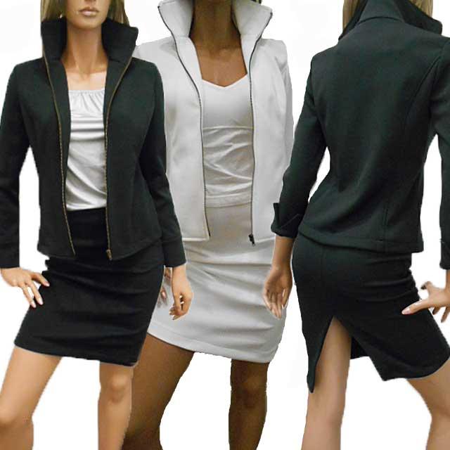 長袖スーツ・スカートスーツ ボディコンスタイル!大人女性のエレガンスさでセクシーアピール ストレッチセクシーレディーススーツ 【あす楽】<白スーツ/黒スーツ>ウエストゴムの後スリットタイトスカート+フロントジップアップのスタンドカラージャケットのスーツ ひざ丈スカート スリットスカート ペンシルスカート ストレッチスーツ セクシースーツ 日本製 made in Japan