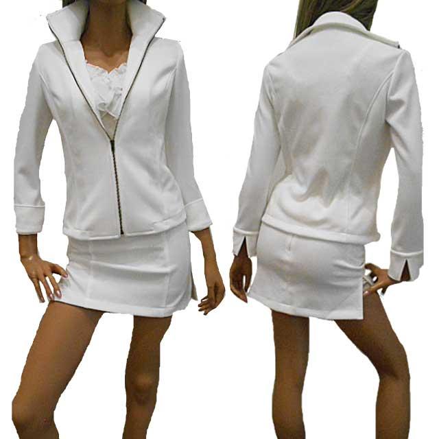 【あす楽】<白スーツ/黒スーツ>横レースの肌透けインナーパンツ付超ミニスカート+ストレッチスタンドジップアップジャケット 袖スリット入り折り返し可能の2WAYカフス仕様ジャケット セクシースーツ 日本製