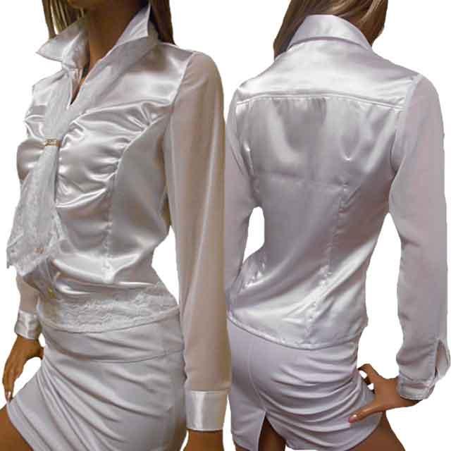 ハイウエストスカートにインでキャリア風 クレバーな大人女性のイメージ スーツのインナー 無地ブラウス 高品質サテンブラウス メール便送料無料 取り外し可能レースネクタイスカーフ付ギャザー入り長袖サテンシャツブラウス in 白シャツ 袖シフォン肌透けシースルーブラウス光沢がエレガントさを引き立てるサテンブラウス 日本製 セール品 Japan made 国産 新生活