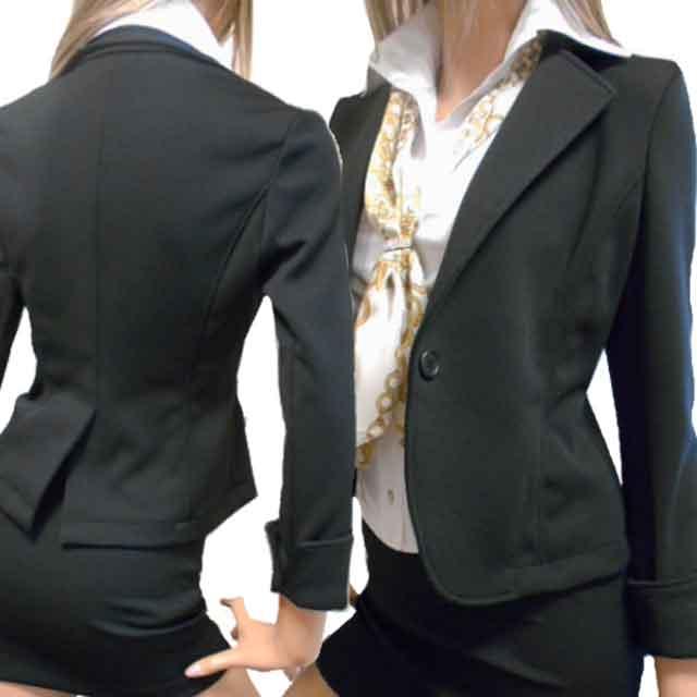 【あす楽】黒ジャケット 袖スリット入り折り返し可能の2WAYカフス!黒ボタンのストレッチジャケット ボディコンスタイル!アラサーアラフォー大人女性のエレガンスさでセクシーアピール長袖七分袖ジャケット OLオフィス・ビジネス・キャバ系 国産 日本製 made in Japan