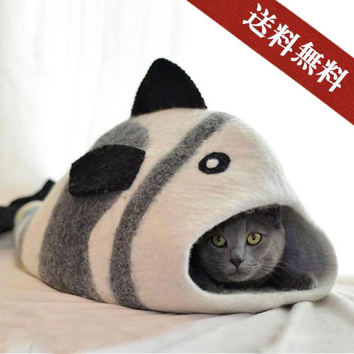 可愛いお魚デザイン♪ 『 フェルト製 ペットハウス 』necocoon(ネコクーン) 【フェルトハウス フィッシュ ペット フェルト 犬 猫 ホワイト×グレー】