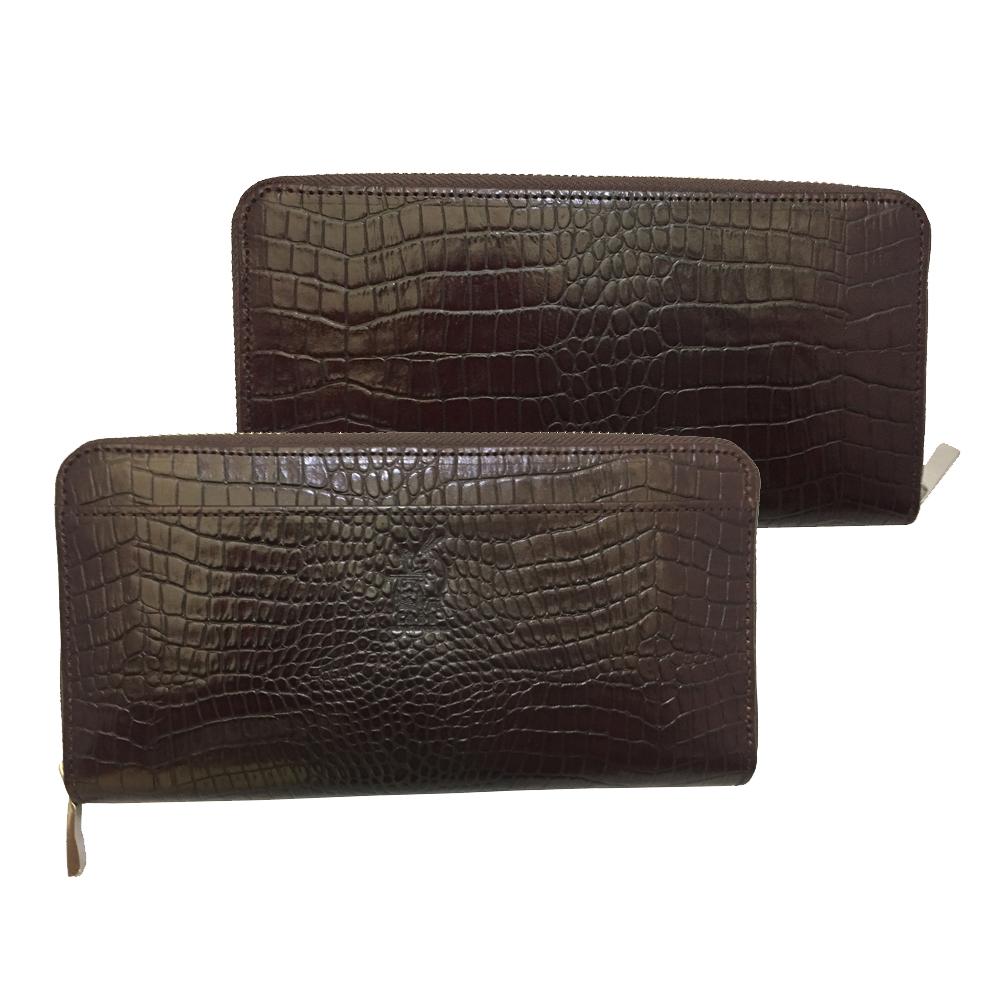 【COBU】(CK7) クロコ風長財布3方ファスナー付き カード収納ポケット16箇所 お札サイズ収納ポケットが2箇所 外側1箇所