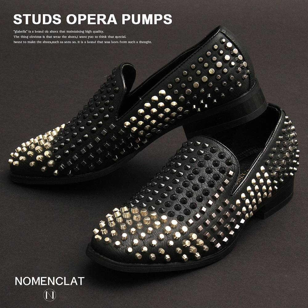 スリッポン メンズ ブーツ・シューズ スタッズ オペラ パンプス 靴