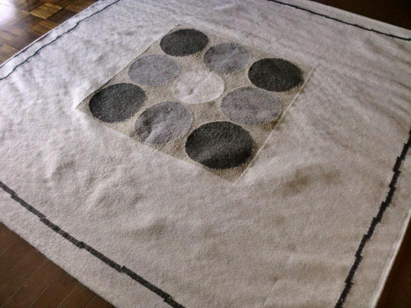 北欧 ポップなナチュラル柄 キリム ラグ 200×200 約 2畳 ラグマット ウール 厚手 北欧 夏 カーペット 絨毯 バーバーWOOL 室内