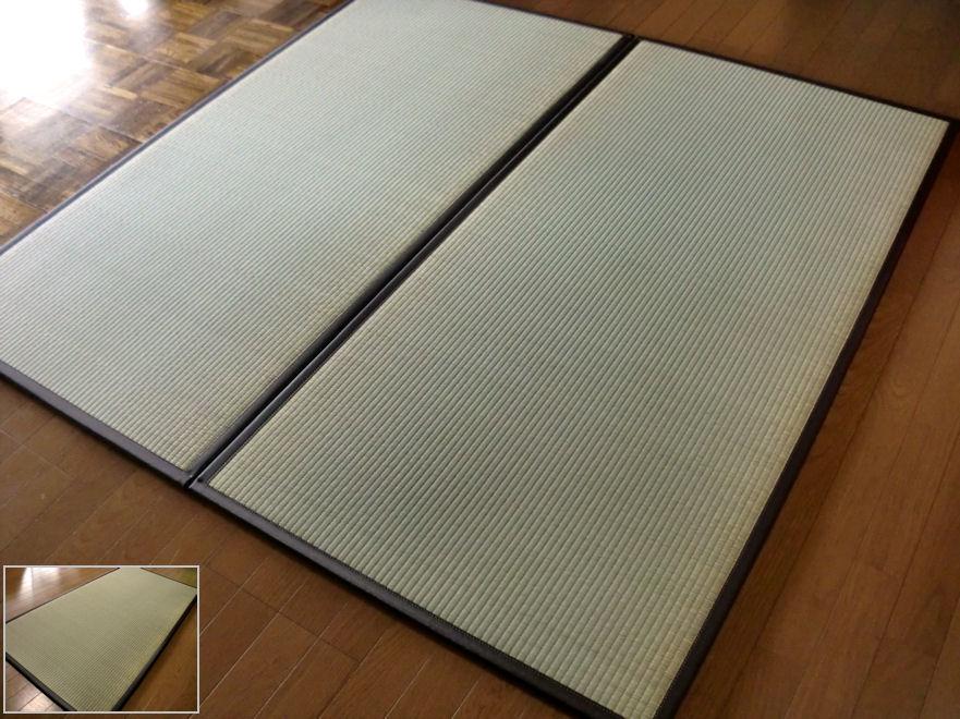 国産/日本の癒しとくつろぎ/つなげる畳ジョイント連結。ユニット畳 2枚セット( 2畳 分相当)約82×164×1.7cm:畳 マット 畳 の 上 に 敷く もの 半畳 1畳 防音対策・置き畳・床キズ防止・防寒/断熱/暑さ対策/節電「お届け約1週間」