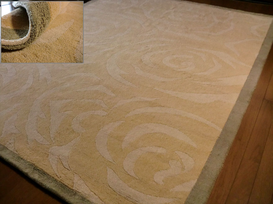 本場インド綿◆フラワー柄◆ 手織 カーペット ラグ 200×250 約 3畳 ラグマット 厚手 北欧 夏 カーペット 絨毯 /さらさらコットン 天然素材 薄山吹色 室内