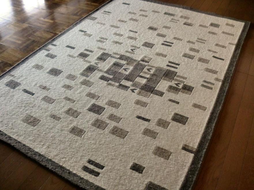 北欧 ウール 優しい自然色柄手織ラグ 120×180 約 1畳 ラグマット 厚手 北欧 夏 カーペット 絨毯 バーバーWOOL
