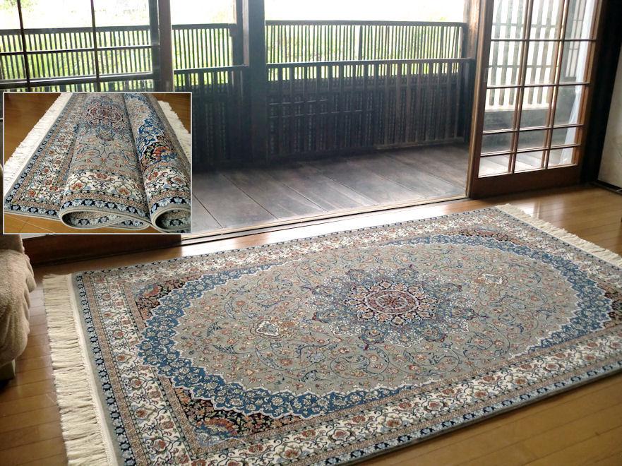 ペルシャ模様/房付59万ノット ラグマット 厚手 北欧 夏 カーペット 絨毯 / イランカーペット 150×225 約 3畳 弱/ブルーグレー系