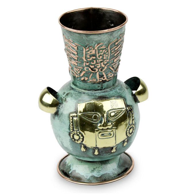 ペルー 青銅 ・ 銅 フラワー ベース 戦士 花器 花瓶 古代インカ帝国 マチュ ピチュ アルパカ ナスカ 地上絵 遺跡