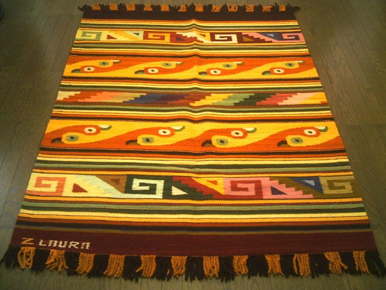 ペルーウールラグカーペットWOOL ラグマット 厚手 北欧 夏 カーペット 絨毯 「野生の鳥たち」約 1.5畳 /送料無料カーペット古代インカ帝国 マチュ ピチュ アルパカ ナスカ 地上絵 遺跡