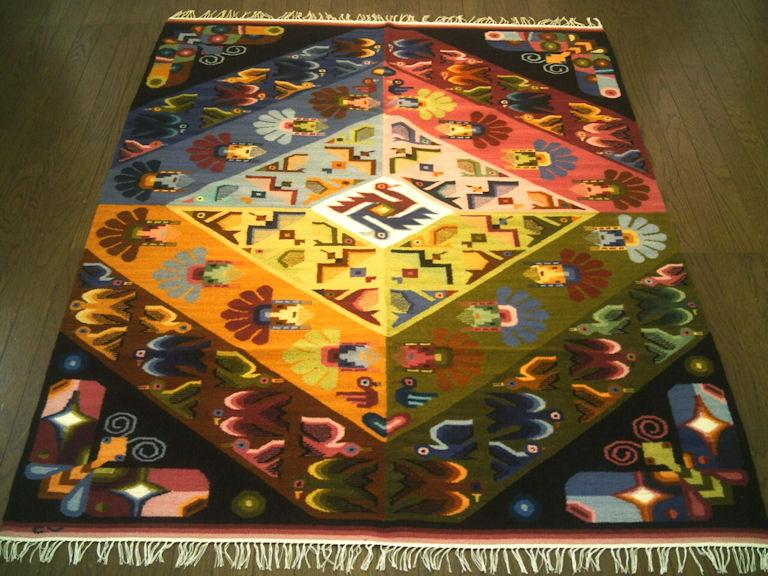 ペルーウールラグカーペットWOOL ラグマット 厚手 北欧 夏 カーペット 絨毯 「村落の風景」約 1.5畳 /送料無料カーペット古代インカ帝国 マチュ ピチュ アルパカ ナスカ 地上絵 遺跡