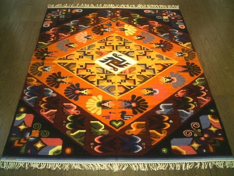 ペルーウールラグカーペットWOOL ラグマット 厚手 北欧 夏 カーペット 絨毯 「村落の蝶と鳥たち」約 1.5畳 /送料無料カーペット古代インカ帝国 マチュ ピチュ アルパカ ナスカ 地上絵 遺跡