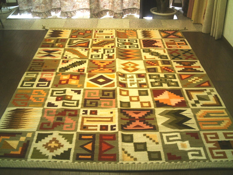 ペルー ウール ラグ カーペットWOOL ラグマット 厚手 北欧 夏 カーペット 絨毯 「古代のシンボル」約 3畳 /送料無料カーペット古代インカ帝国 マチュ ピチュ アルパカ ナスカ 地上絵 遺跡