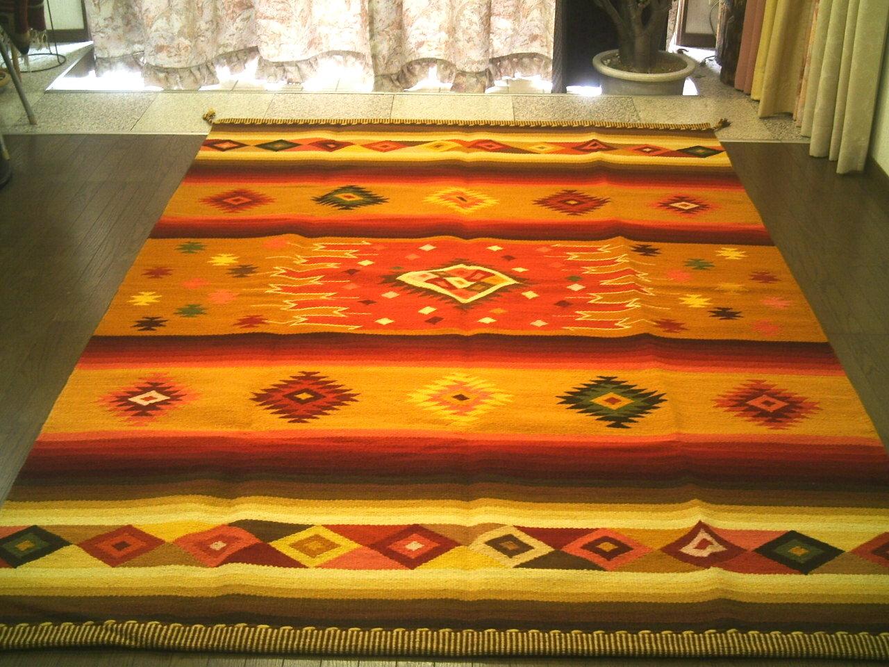 ペルー ウール ラグ カーペットWOOL ラグマット 厚手 北欧 夏 カーペット 絨毯 「眩い星」約 3畳 /送料無料カーペット古代インカ帝国 マチュ ピチュ アルパカ ナスカ 地上絵 遺跡