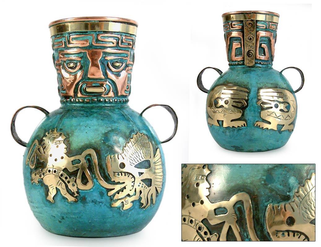 ペルー 青銅 ・ 銅 フラワー ベース インカの漁師 花器 花瓶 古代インカ帝国 マチュ ピチュ アルパカ ナスカ 地上絵 遺跡