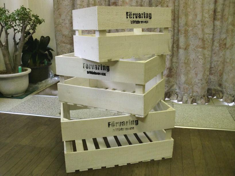 オシャレに収納便利!!【送料無料】 ウッドボックス 3個セット/ 木箱 ナチゥラルアンティーク風ホワイトボックス(木製ボックス)「納期約1週間」