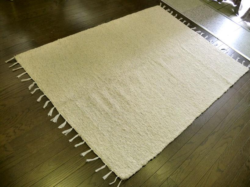 2色展開/ 綿 コットンラグ/ギリシャのハンドメイド/房付き ラグマット 厚手 北欧 夏 カーペット 絨毯 / 130×190 約 1.5畳 ホットカーペット対応