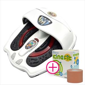 (低周波・電気マッサージ組合せ家庭用医療機器)フットサポートEV(FOOT SUPPORT) NL-93J + キネシオロジーテープ キネフィット 5.0cmx5mx6巻(1箱)付き - 低周波治療器+エアーマッサージ+バイブレーション。3つの機能がひとつに集約。