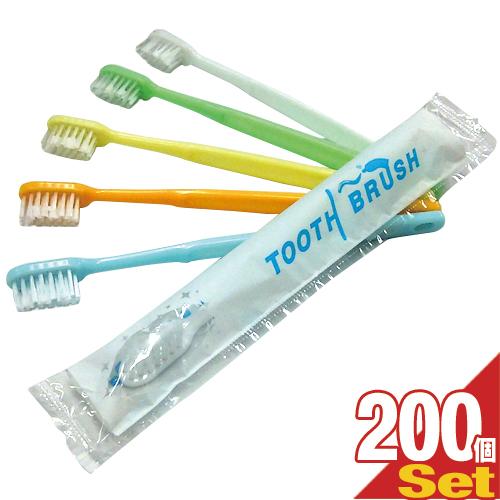 (あす楽対応)(ホテルアメニティ)(使い捨て歯ブラシ)(個包装タイプ)業務用 粉付き歯ブラシ x200本 (全5色) - 磨き粉が付着しているので、すぐに使える便利な歯ブラシ。