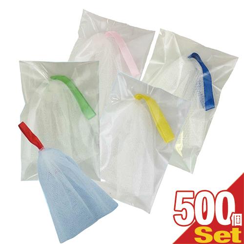 (美容グッズ)泡立てネット(カラフルリボン) カラー当店お任せ × 500個セット - 指にかけたり、乾かすときに便利な吊り下げリボン付き。やわらかいネットで、きめの細かい弾力のある泡に仕上げます。