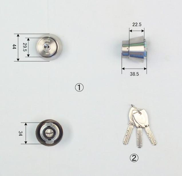 MIWA PRシリンダー (LA・MA LASP・DA) シルバー色