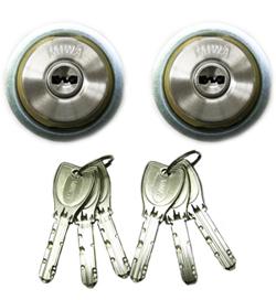 MIWA 実物 プッシュプル錠用 シルバー色 返品送料無料 PRシリンダー2個同一キー仕様