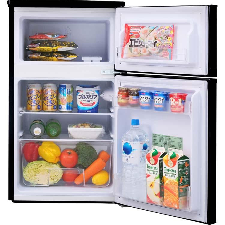 ノンフロン冷凍冷蔵庫 2ドア 81L ブラック NRSD-8A-B  冷蔵庫 れいぞうこ 料理 調理 一人暮らし 独り暮らし 1人暮らし 家電 食糧 冷蔵 保存 食糧 白物 単身 れいぞう コンパクト キッチン 台所 寝室 リビング アイリスオーヤマ