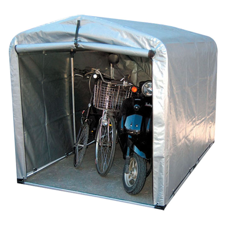 サイクルハウス ワイドタイプ 厚手シート 3S-SVU送料無料 自転車 ガレージ スタンド 3台 自転車スタンド 自転車3台 ガレージスタンド スタンド自転車 3台自転車 スタンドガレージ アルミス シルバー【TD】