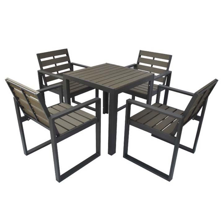 人工木テーブル正方形+チェア4脚セット ダークブラウン 送料無料 ガーデンファニチャー ガーデン ガーデニング エクステリア 旭興進 【TD】 【予約】