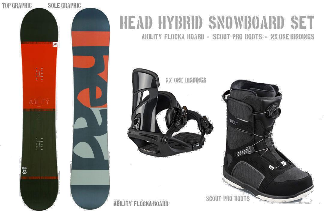 2018-19新作 ボードケース無料 HEAD SNOWBOARDS [ メンズ スノーボード 3点セット ABILITY FLOCKA スノボ @122040] 【送料無料】【正規品】