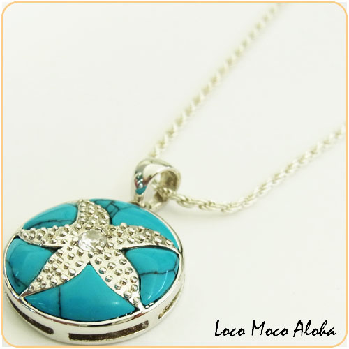 Turquoise Starfish pendant two tone Hawaiian jewelry SCT564 Silver 925 rhodium processing hawaiianjoeliinecklace two tone Hawaiian jewelry pendant Silver 925 silver925 starfish (chain you can choose with) makanilea