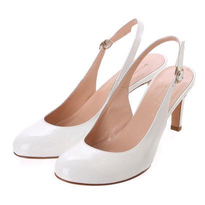【アウトレット】銀座ワシントン ワシントン靴店 LORENA PAGGI 389-61903 エナメルバックベルトパンプス (ホワイト)