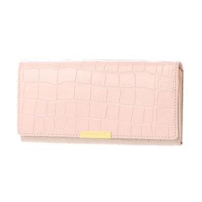 カル Cal クロコ型押しカブセ長財布 (ピンク)